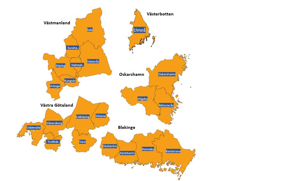 EnRival Rusta och Matcha kommer finnas på följande orter Oskarshamnstrakten Oskarshamn · Högsby · Mönsterås Blekinge Olofström · Ronneby · Karlskrona · Karlshamn Västra Götaland Trollhättan · Uddevalla · Vänersborg · Lidköping · Vara · Götene Västmanland Arboga · Hallstahammar · Kungsör · Surahammar · Sala · Västerås · Köping Västerbotten Umeå